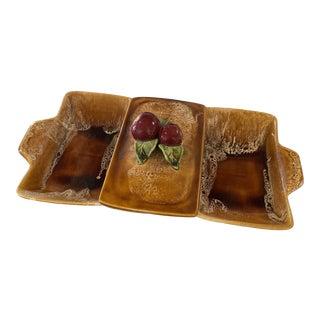 Mid Century Brown Drip Glaze Serveware With Apple Detail For Sale