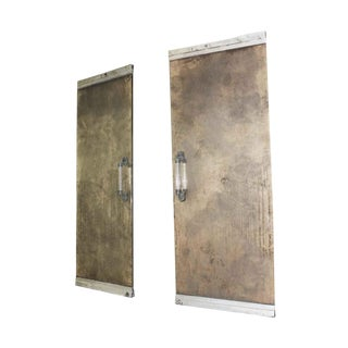 Mid-Century Modern Glass & Aluminum Entry Doors - A Pair