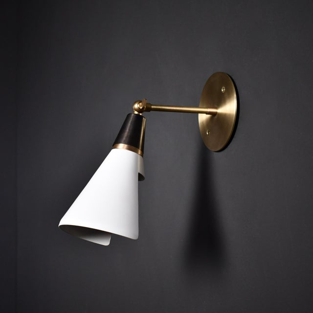 Black Magari Adjustable Wall Lamp in Black, White & Brass by Blueprint Lighting For Sale - Image 8 of 8