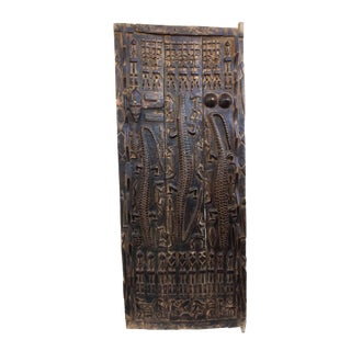 "Stunning Lg Dogon Door W/ Figures/ Crocodiles Mali African 71.5 "" H For Sale"