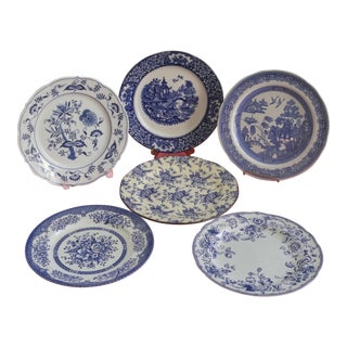 Mismatched Blue and White Dinner Plates - Set of 6