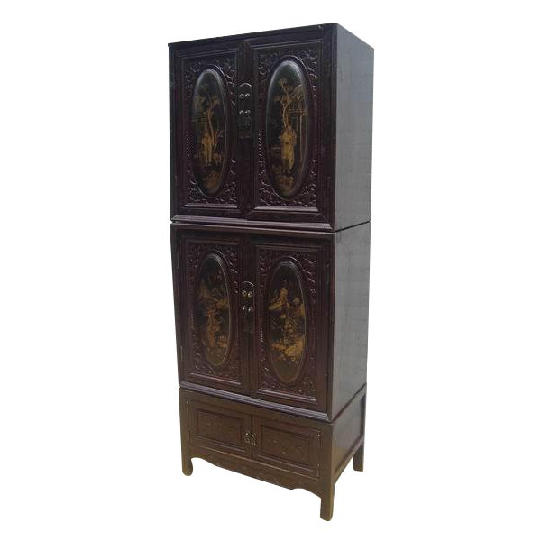 Asian Chaozhou Painted & Carved Cabinets on Stand - Set of 3 For Sale - Image 3 of 13