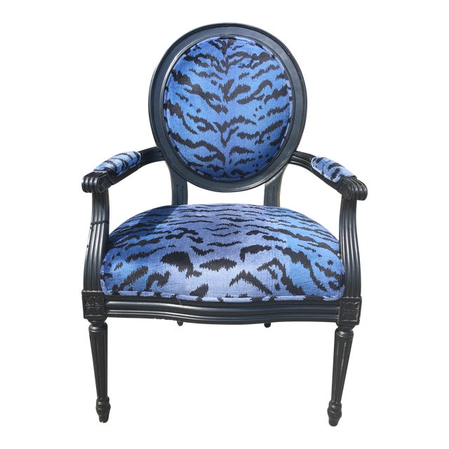 Port 68 Scalamandre Blue Le Tigre Upholstered Avery Chair - Image 1 of 7