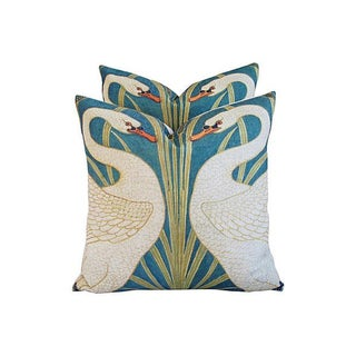 Swans Linen & Down/Feather Pillows - Pair