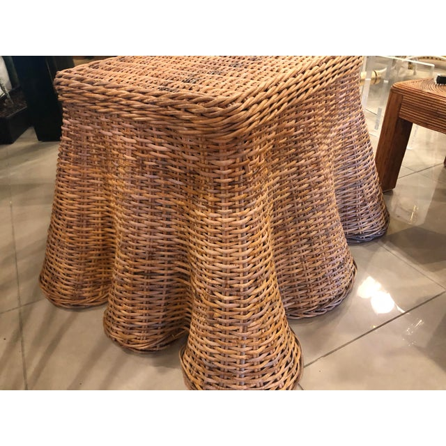 Vintage Palm Beach Tropical Trompe l'Oeil Wicker Draped Coffee Table For Sale - Image 10 of 13