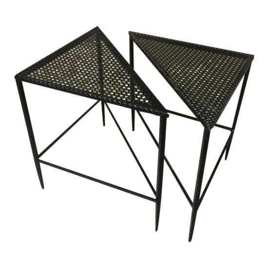 Mathieu Mategot Pair of Triangle Coffee Tables For Sale
