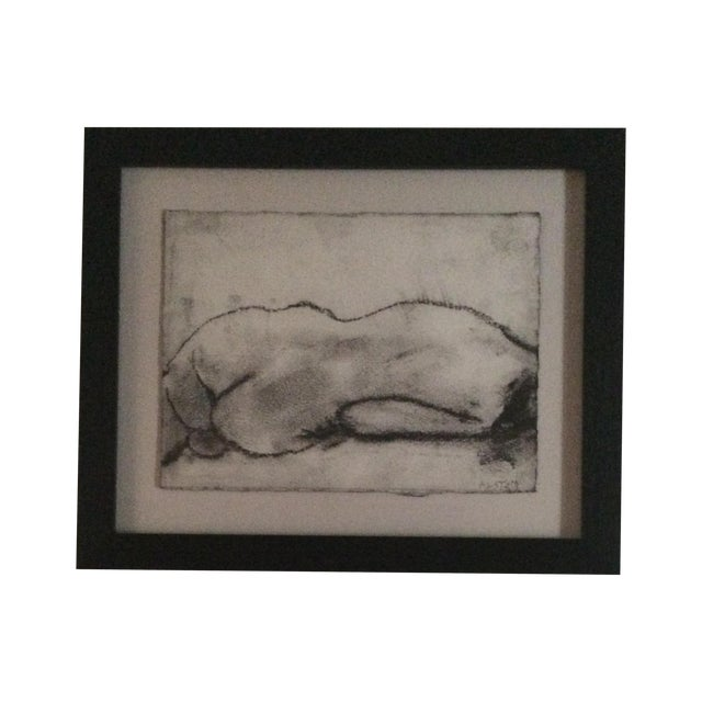Matt Alston Charcoal Framed Drawing - Nude 16 - Image 1 of 4