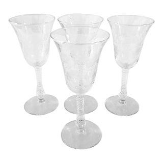 Vintage Floral Etched Wine Glasses - Set of 4