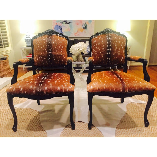 Brown French Axis Deer Arm Chairs - Pair For Sale - Image 8 of 11
