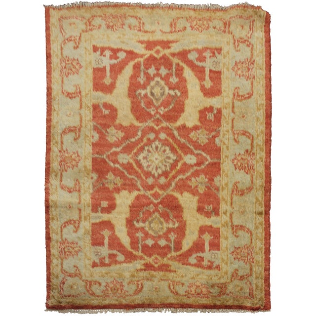Aara Rugs Inc. Hand Knotted Fine Oushak Rug - 3′5″ × 4′10″ For Sale