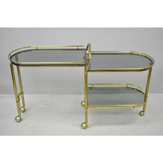 20th Century Hollywood Regency Swivel Rolling Bar Cart For Sale - Image 4 of 13