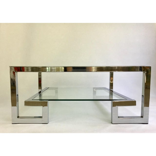 1970s Modern Chrome Greek Key Coffee Table For Sale - Image 13 of 13