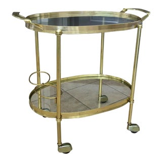 1970s Italian Brass Tea Cart For Sale