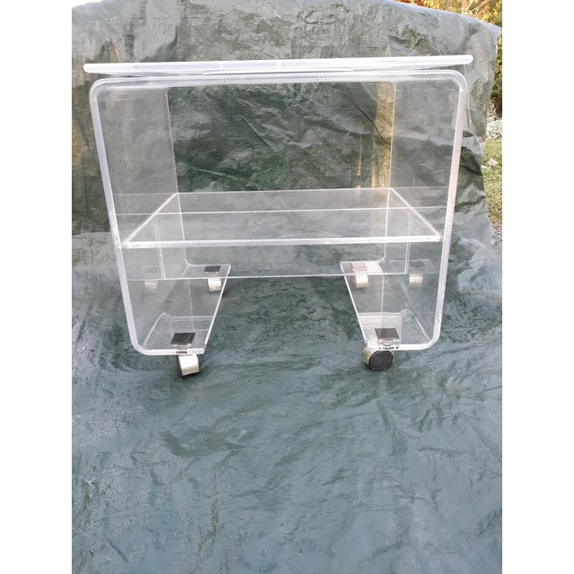 1970's Vintage Lucite Bar Cart For Sale - Image 11 of 11