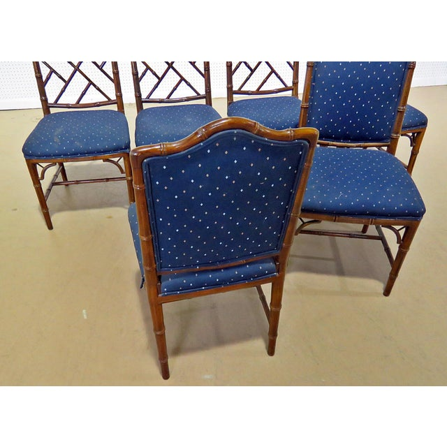 Hollywood Regency Style Faux Bamboo Dining Chairs - Set of 6 For Sale - Image 4 of 8