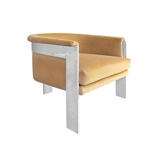 1970s Milo Baughman Barrel Back Lounge Chair in Camel Velvet For Sale