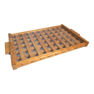 Oak Wood Grid Cockpit Serving Tray W/Acrylic Top & 2 Handles For Sale