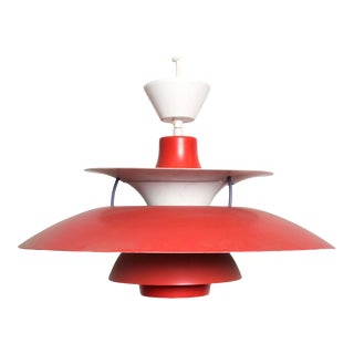 Poul Henningsen Ph5 Red Pendant Light Lamp Louis Poulsen Mid Century Modern For Sale
