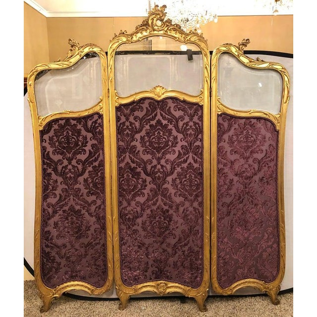 19th Century Louis Xv, Giltwood Three Fold Screen With Original Glass Panels For Sale In New York - Image 6 of 13
