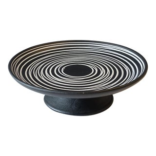 Mid-Century Haeger Multi-Directional Striped Black and White Footed Platter For Sale