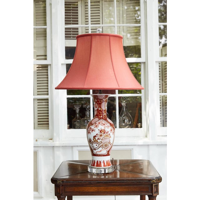 Vintage Japanese Imari Lamp in Red and Gold For Sale - Image 10 of 11