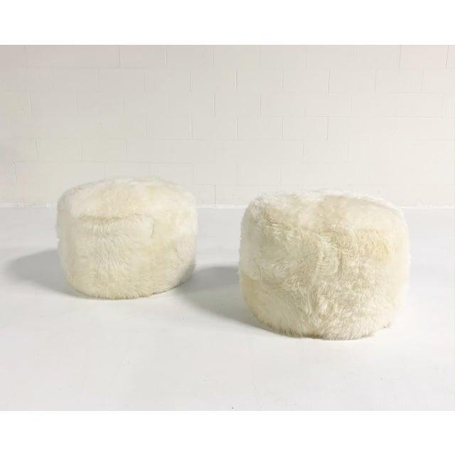Modern Forsyth Sheepskin Pouf Ottoman For Sale - Image 3 of 5
