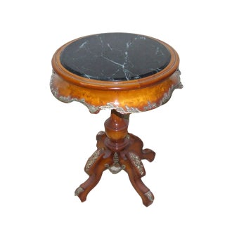 French Round Marble End Table For Sale