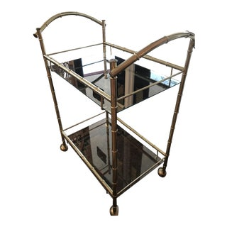 Mid Century Modern Bamboo Brass Bar Cart For Sale