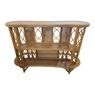 Mid-Century French Riviera Rattan and Bamboo Dry Bar For Sale