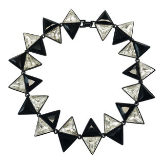 Modernist Black Plated Choker by Kenneth Jay Lane For Sale