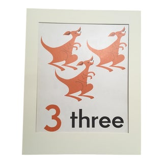 "Vintage Mid Century Teaching Poster, Numbers - ""3"" For Sale"
