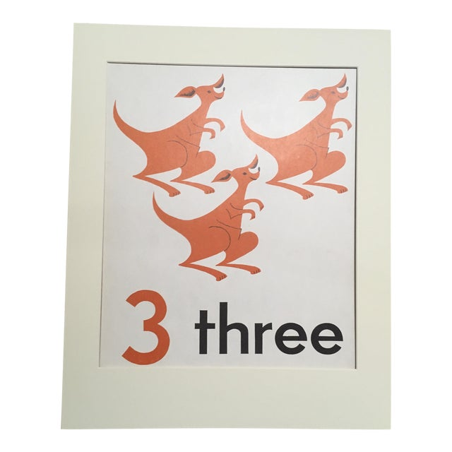 """Vintage Mid Century Teaching Poster, Numbers - """"3"""" For Sale"""