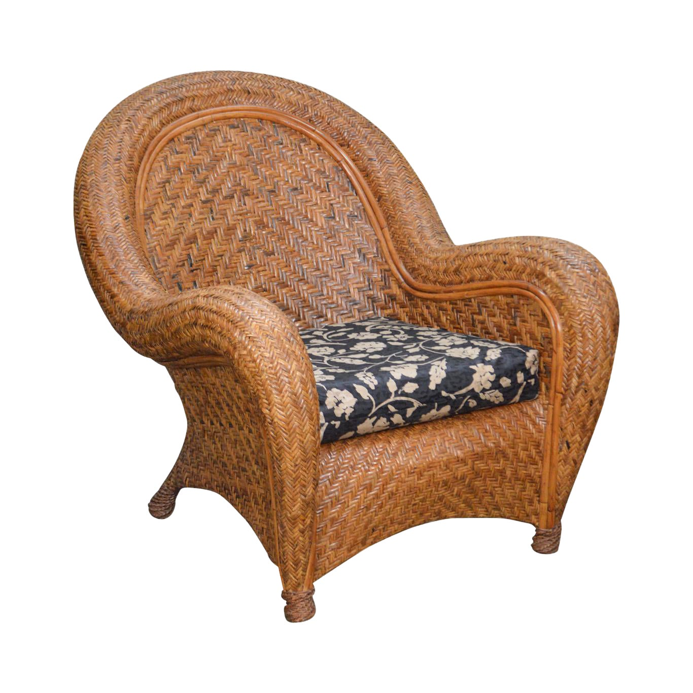 Pottery Barn Malabar Woven Wicker Rattan Lounge Chair