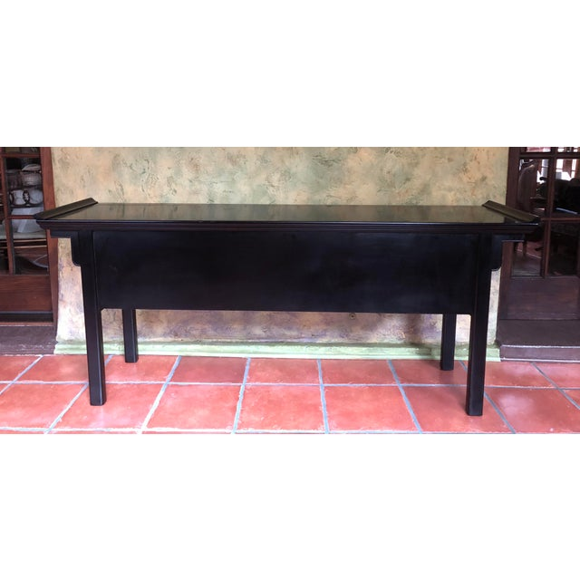 Raymond Sabota 1990s Asian Century Furniture Black Lacquer Altar Console Table For Sale - Image 4 of 13