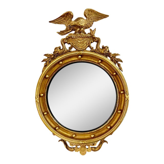 Federal Style Convex Eagle Carved Mirror, Wall, Console Mirror For Sale