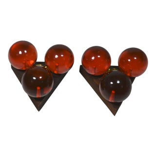 Mid-Century Modern Red Lucite Balls Candle Holders - a Pair For Sale