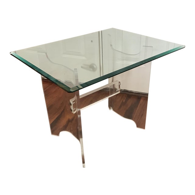 Mid-Century Lucite & Glass End Table - Image 1 of 6
