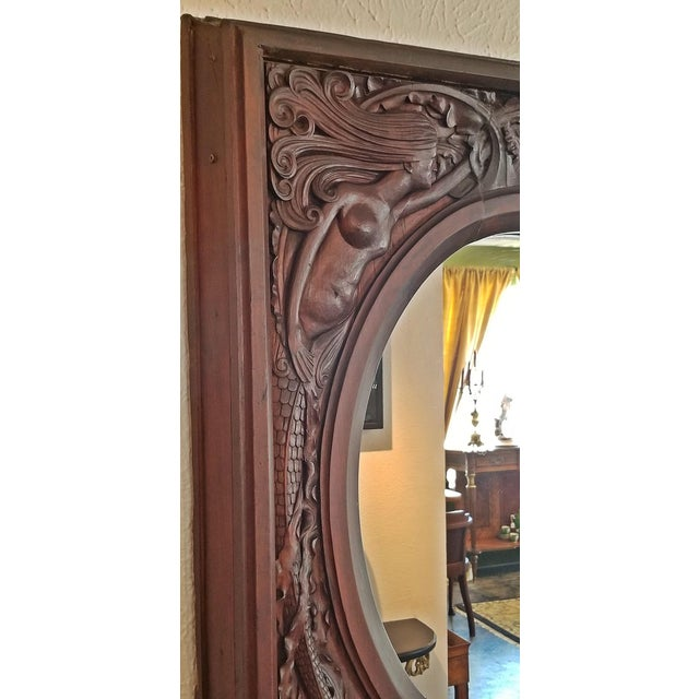 19c American Dark Walnut Wall Mirror With Mermaids - Important For Sale - Image 11 of 12