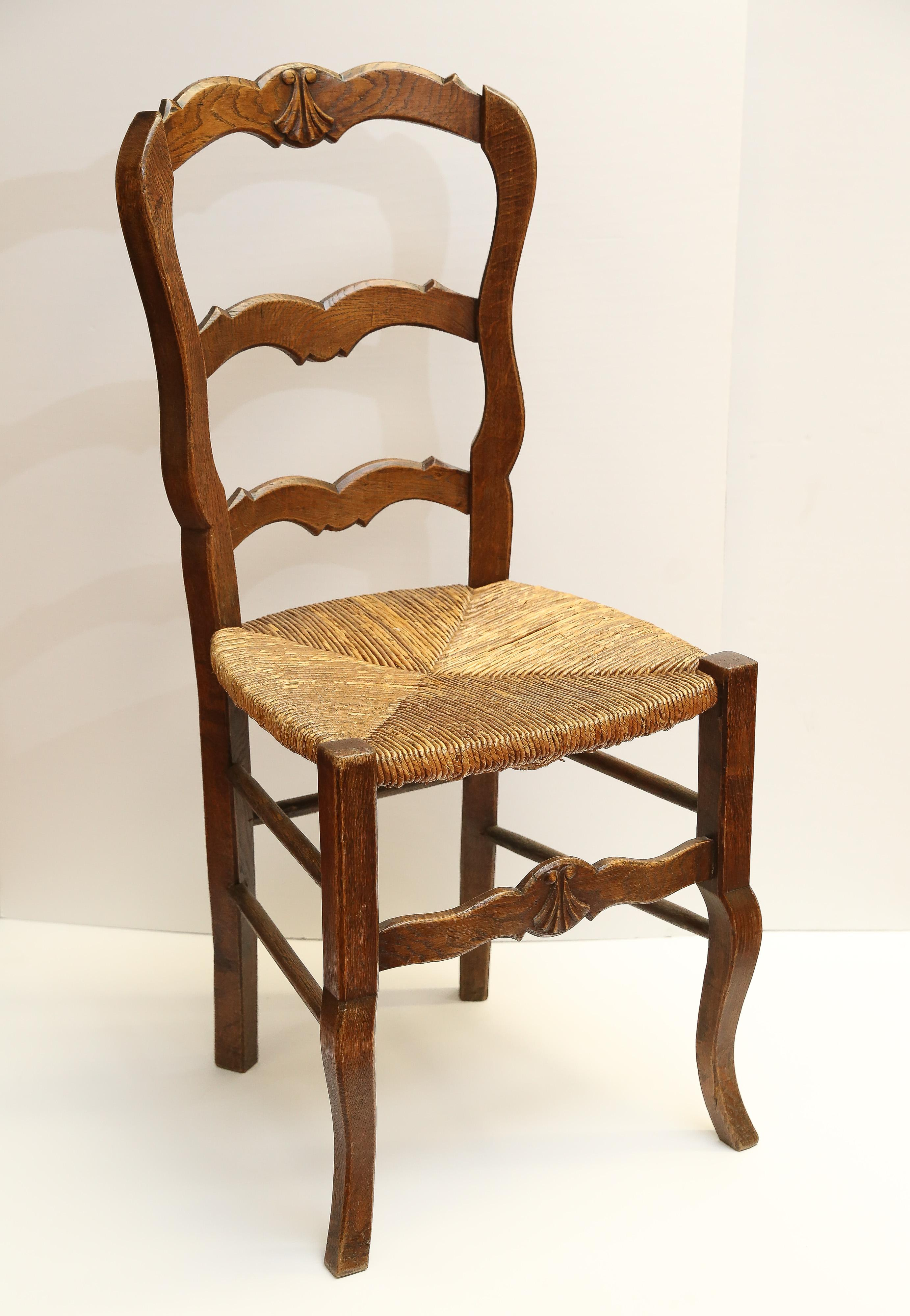 Carved Wood Country French Side Chair With Rush Seat.