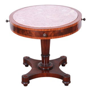 Weiman Regency Flame Mahogany Marble Top Pedestal Drum Table For Sale