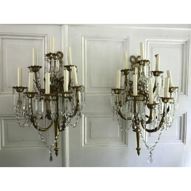 A Pair of Antique French Crystal Bronze 18 Light Sconce Pair - Image 2 of 6