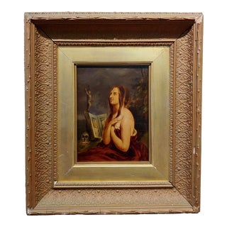 18th Century Oil Painting on Boar, Figurative Art Penitent Magdalene For Sale