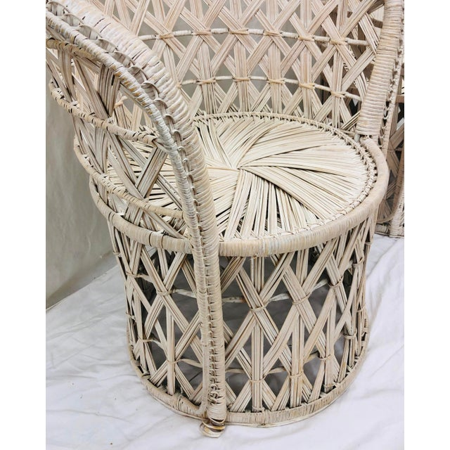 Pair Boho Chic White Wicker & Rattan Chairs For Sale - Image 10 of 13