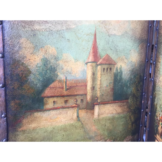 Blue 6 Ft Antique Painted Leather Screen W/ Pastural Scene For Sale - Image 8 of 10