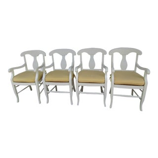 Modern Contemporary White Solid Wood Dining Chairs- Set of 4 For Sale