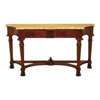 Century Marble Top Mahogany Paw Foot Console Table