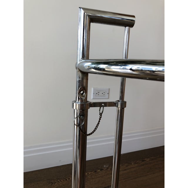 Eileen Gray 1980s Mid-Century Modern Eileen Gray Chrome & Glass Accent Table For Sale - Image 4 of 7