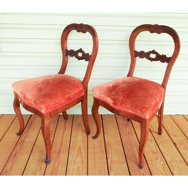Antique Walnut Hand Carved Velvet Side Chairs - a Pair For Sale In San Antonio - Image 6 of 12