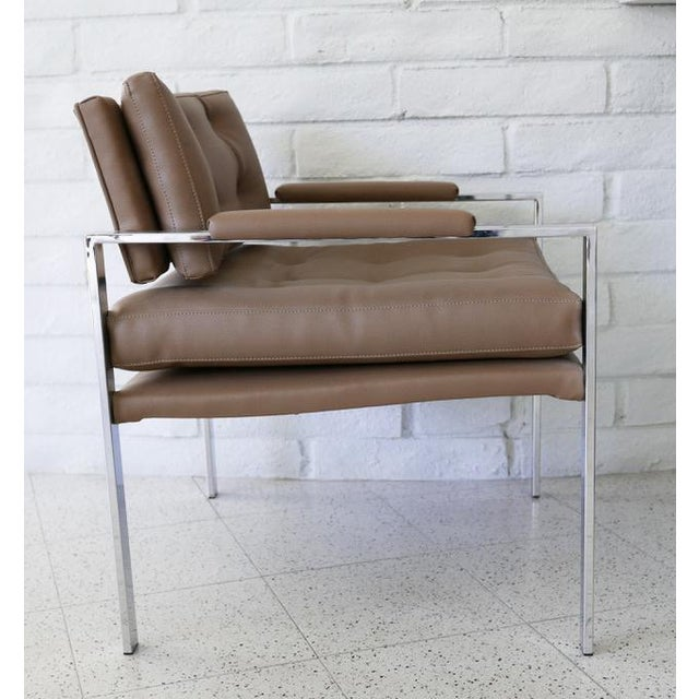 Pair of Chrome and Faux Leather Lounge Chairs by Milo Baughman for Thayer Coggin Thayer Coggin and Milo Baughman...