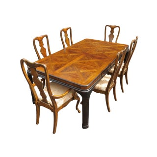 Vintage Drexel Heritage Walnut, Mahogany, and Burl Dining Set For Sale